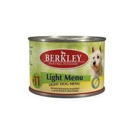 Berkley №11 Light Dog Menu - Облегченные Консервы для собак индейка и ягненок с яблоком 200гр